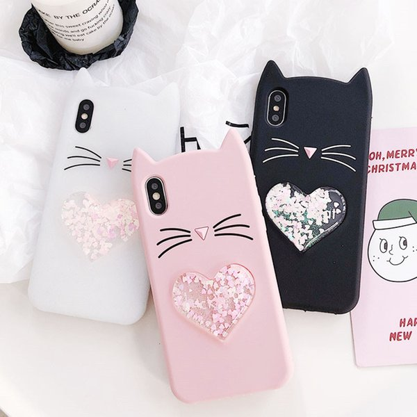 3D Love quicksand cute cartoon Mustache beard lucky cat Ear soft silicone case for iphone X 6 6s 6plus 7 7plus 8plus back cover