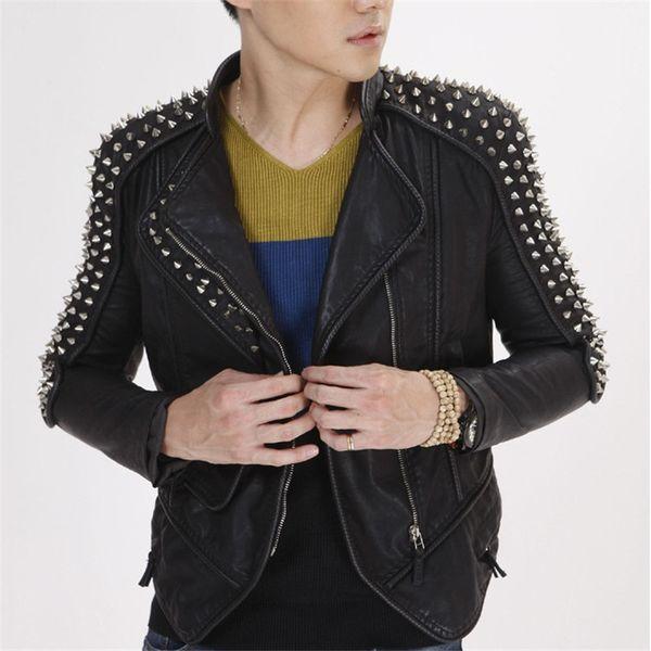 Plus Big Size Men Punk Leather Jacket with Rivets Slim Fit Black Stud Motorcycle Biker PU Jacket Coat for Male
