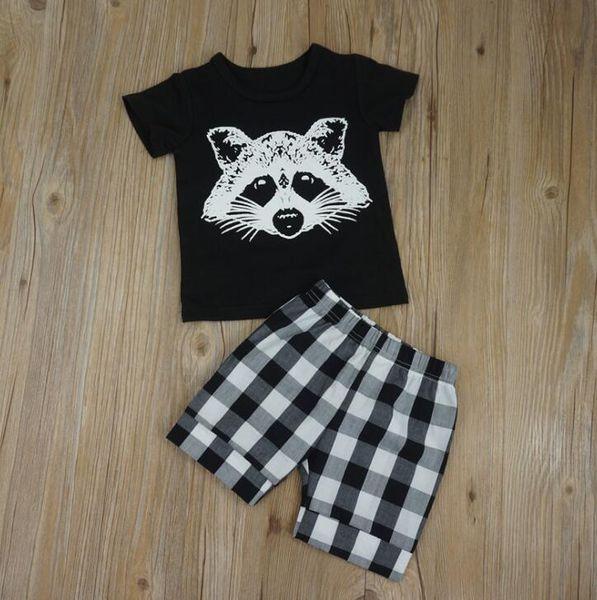 Ins Infant Baby Boys Clothes Set Short Sleeve Cartoon Fox Printed Cotton Tops T-shirt + Plaid Shorts Kids 2pcs Outfits Children Sets 13879