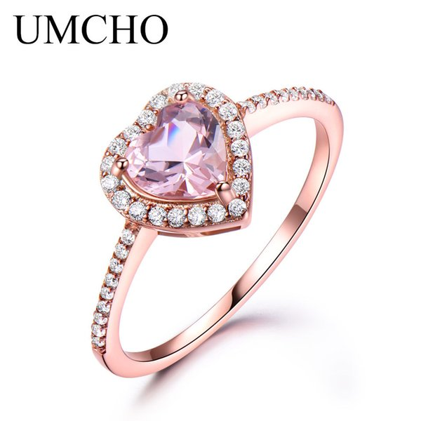 UMCHO Pure 925 Sterling Silver Ring Heart Pink Morganite Rings For Women Engagement Wedding Party Gift Fine Jewelry 2018 NewY1882701