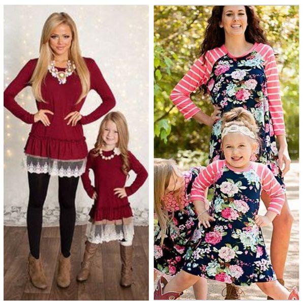 Mama und ich Familie passende Kleidung Mutter und Tochter Kleider Familie passende Kleidung Kinder Eltern Kinder Patchwork Floral halbe Kleider