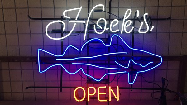 "17""x14"" Hoek's OPEN Sea Food Custom Real Glass Neon Light Sign Beer Bar Pub Artwork Display Wall Advertising"