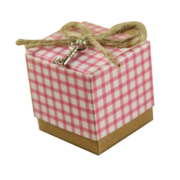 eautiful Baby Shower Party Candy Boxes Papercard Pink Blue Lattice with Sliver Key Decor Wedding Birthday Gift Boxes for Guests