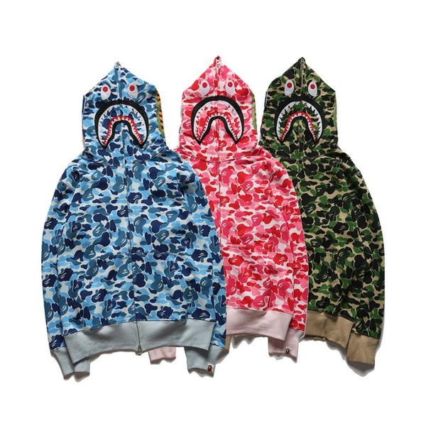 Hommes Shark Imprimer Camo Hoodies À Capuche Adolescent Bleu Vert Rose Camouflage Cardigan Hoodies Veste Amant Skateboard Hip Hop Hoodies