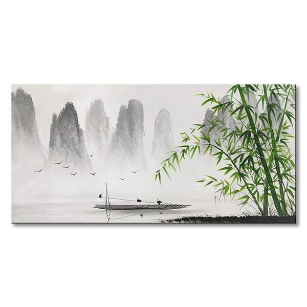 Pintura china tradicional en blanco y negro Paisaje Lienzo Arte de la pared de bambú Imágenes decorativas de la pared para la sala de estar