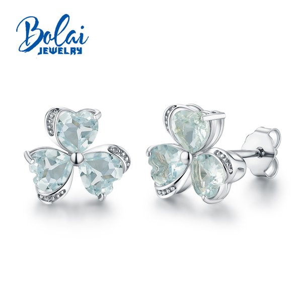 Bolaijewelry,Heart shape flower earring with natural brazil aquamarine gemstone 925 sterling silver fine jewelry for girls gift