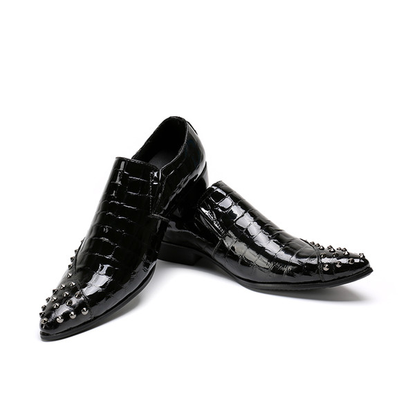 Free Shipping italy men leather dress shoes slip on fashion office suit shoes