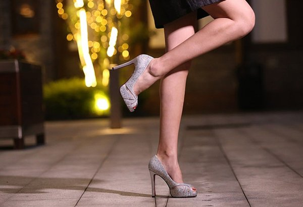 11cm heel peep toe fish mouth platform diamond sliver white color bridal wedding party shoes 492