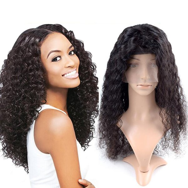 For women long lasting on sale human hair aaaaaaa 100% unprocessed long natural color no shedding kinky curly full lace wig
