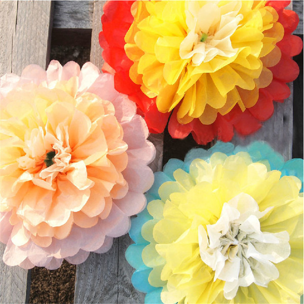 5 Colors!! 10inch(25cm) 5pieces/Lot Giant Tissue Paper Flower Rose Ball Poms Baby Wall Decorations Wholesales Free Shipping