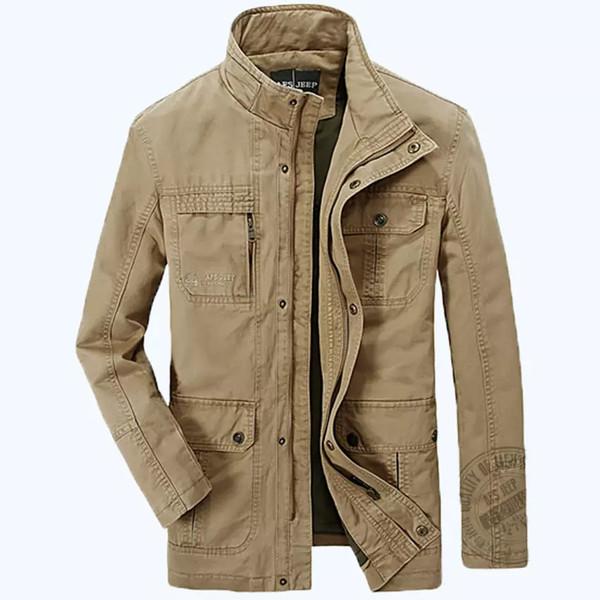 Acquista AFS JEEP Marca Mens Buona Qualità Primavera Autunno Giacche Da Uomo Cotone Militare Esercito Soldato Lavaggio Giacca Di Cotone Vestiti Uomo