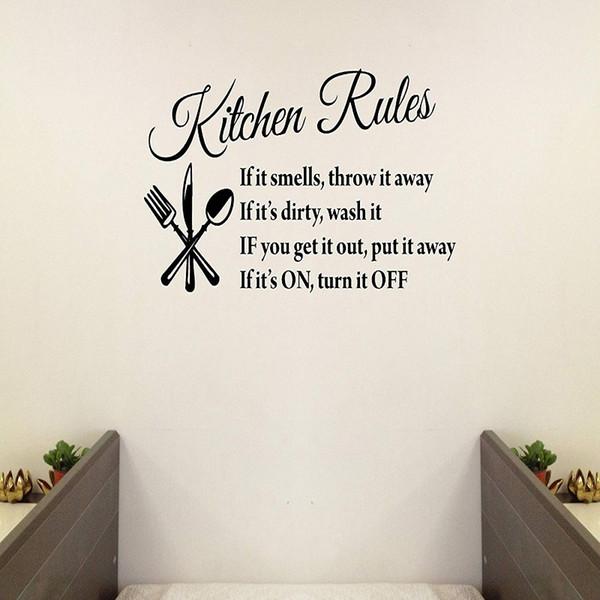 Großhandel Küchen Regeln Zitate Familie Handgemachte Wandaufkleber Wandaufkleber Entfernbare Vinyl Kunst Für Kinder Tag Schlafzimmer Kinderspielzimmer