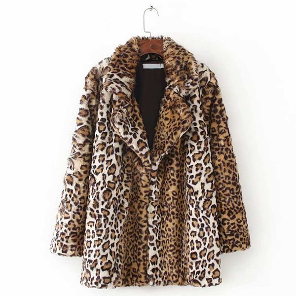 ANSFX Vintage Leopard Hairy Shaggy Faux Fur Mid Long Coat Notched Collar Outerwear Winter Stylish Women Keep Warm Jacket Tops