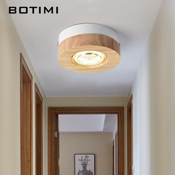 BOTIMI Moderne LED Deckenleuchten Holz Deckenleuchte Für Flur Quadrat Runde  Holz Küche Lichter Kleine Oberfläche Montiert Lampe