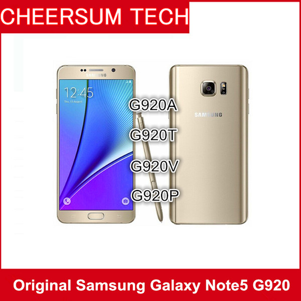 Original Samsung Galaxy Note 5 N920A N920T N920P N920V N920F Refurbished Unlocked Phone Octa Core 4GB/32GB Cellphone