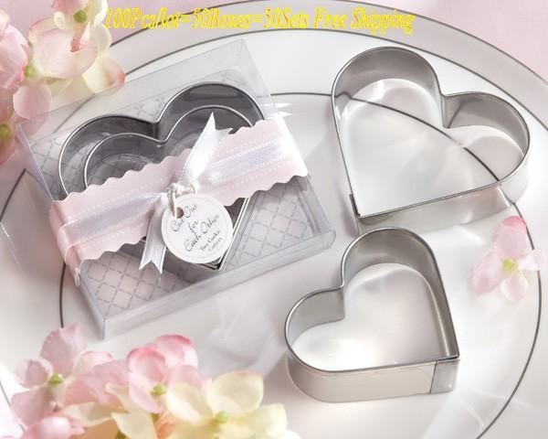 (100Pcs/lot=50boxes=50sets) Wedding and Party gift for guests of cut out for each other Love Heart cookie cutter for bridal party favor