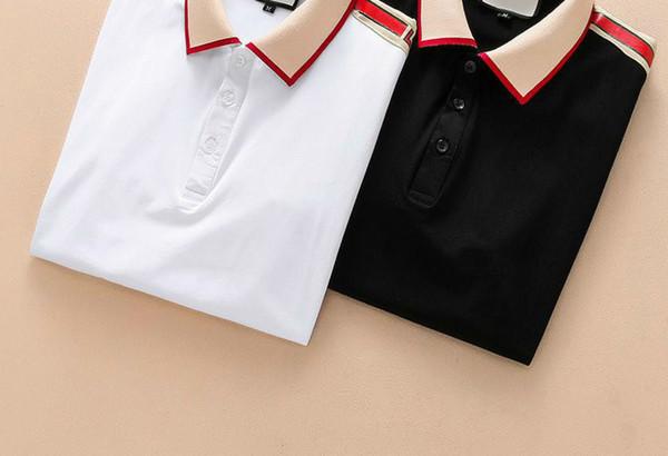 Moda Camisas de Verão T Camisa Listras Imprimir T-shirt de Algodão de Manga Curta Tshirt Homens Tops Preto Branco Polo
