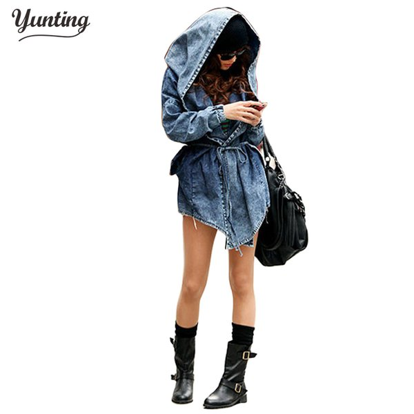 New Fashion 2018 Women Jeans Coat Hat-style Turn-down Collar With Sashes Vintage Denim Trench Coats