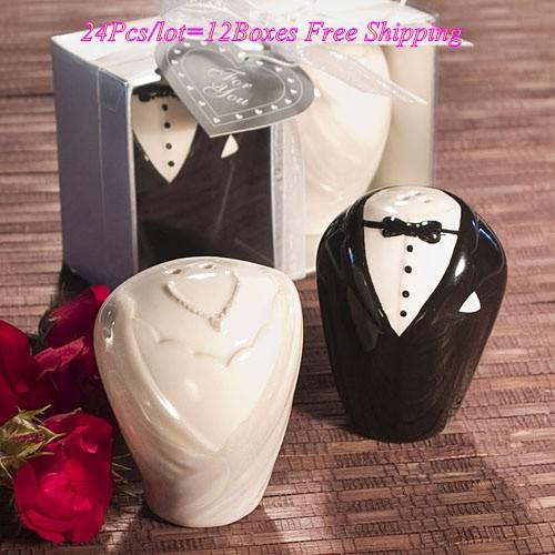 Cheapest Gift Bride and Groom Salt and Pepper Shakers For black and white Wedding favors Party decorations 24pcs=12boxes/lot
