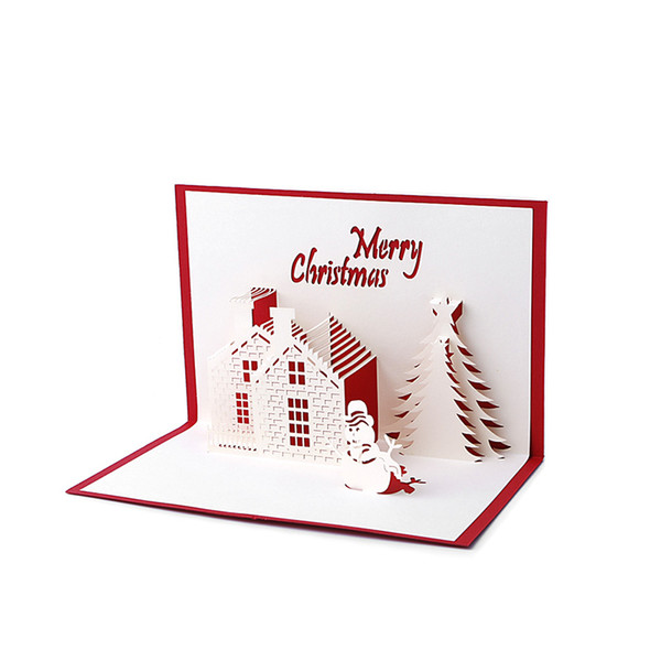 Handmade 3D Pop Up Holiday Greeting Cards Christmas Cottage Castle Thanksgiving Drop shipping