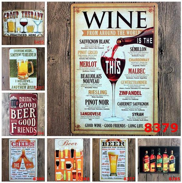 100pcs different themes beer garage warning Motor Vintage Craft Tin Sign Retro Metal Painting Poster Bar Pub Wall Art Sticker