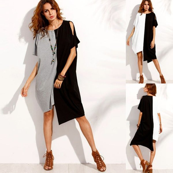 Lady large size S-5XL contrast color shirt dress one piece lady scoop neck hollow out asymmetrical dress