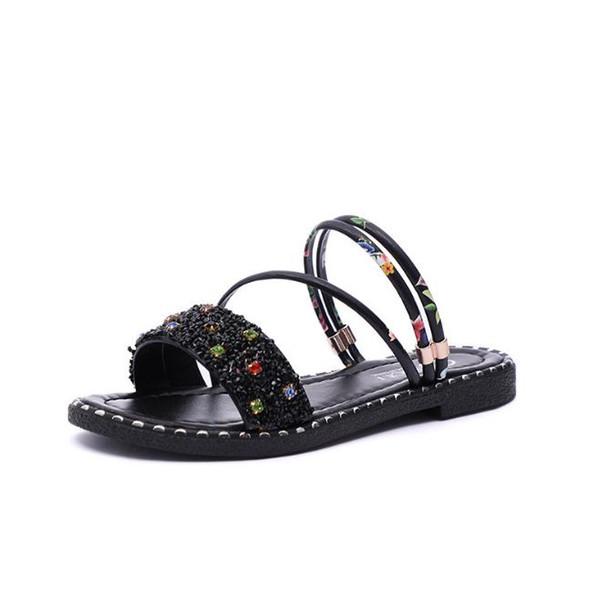 Compre Las 2018 Desgaste Estilo Zapatos Lentejuelas Unidos Verano Dos Sandalias Pies Mujer Nuevo Los Punta Europa Y Planas De Estados Abierta dWBCxeor
