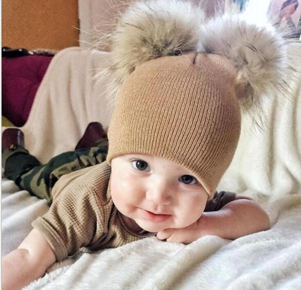Kid Pom Pom Winter Knit Beanie Photography Faux Fur Hat Knit Cap