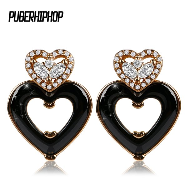 New Rose Gold Love Heart Stud Earring for Women Black Withe Ceramic Ear Earrings Bling Crystal Accessories Birthday Jewelry