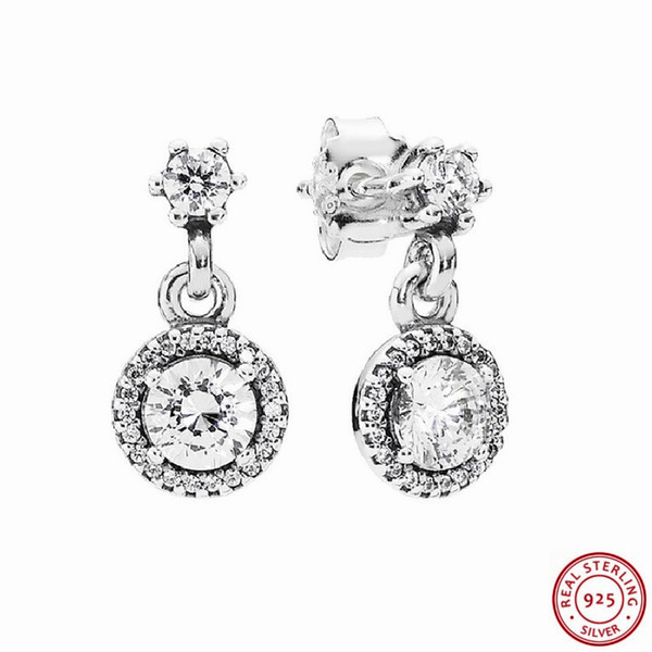 925 Sterling Silver Timeless Elegance Drop Earrings for Women Jewelry with Vintage-cut Centre Stones & Surrounded Halo CZ FLE045
