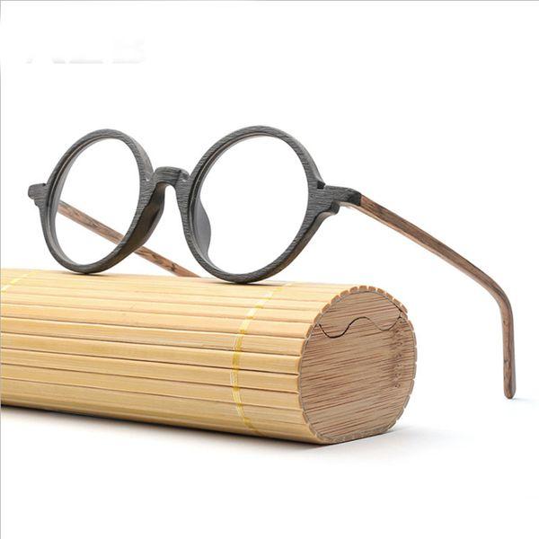 Mincl / Vintage assiette de céréales à grain de bois cadre à la main tendance littéraire hommes et femmes lunettes encadrement graduation myopie YXR