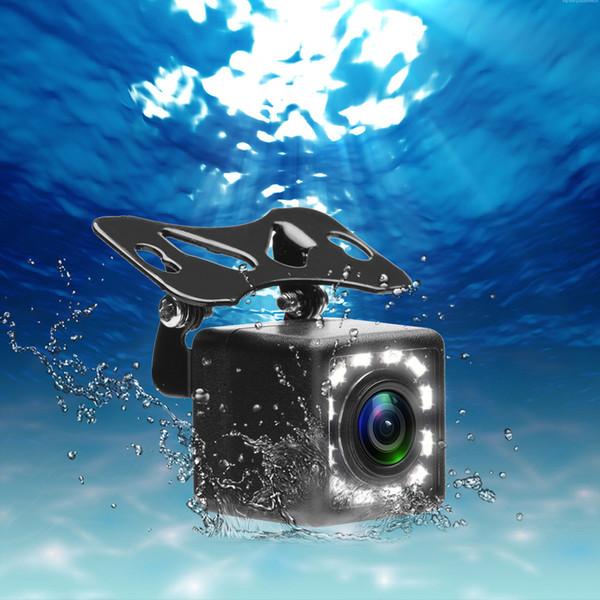 2019-12 LED Gece Görüş Işık Araba Dikiz Kamera Evrensel Park Desteği Su Geçirmez Kamera 170 Geniş Açı HD Renkli görüntü