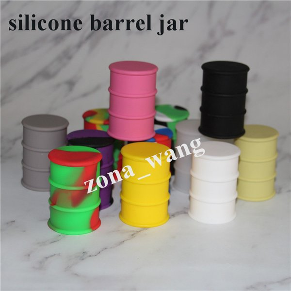 New silicone oil barrel container jars dab wax vaporizer oil rubber drum shape container 26ml food grade silicone 50pcs /lot