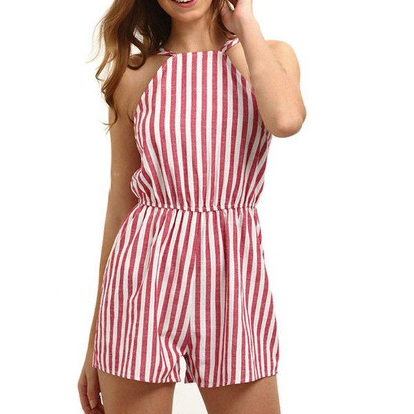 Hot sale Playsuit Women loose Casual Ladies Jumpsuit Romper Summer Beach Striped Backless rompers womens jumpsuit combinaison #5