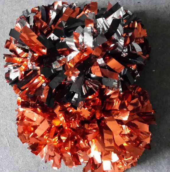 1 Paar Pom Pom Cheerleader Metallic Orange Silber Mixed 6