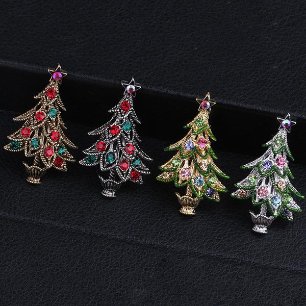 4 colores broches del árbol de navidad de la vendimia para muchachas de las mujeres nuevas de la manera Rhinestone colorido circón broche del Pin pelusa Accesorio KQ