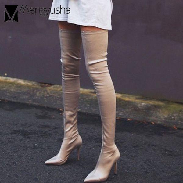 grande taille 40 cuisse bottes femmes filles sexy jambe mince chaussettes élastiques chaussons femme bouts pointus talons minces tuyau de poêle long botas mujer