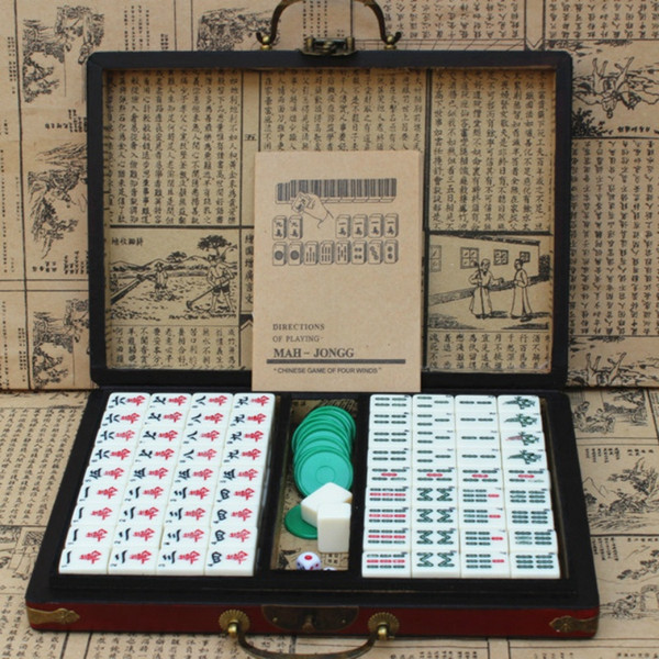 New Chinese Retro Mahjong Games With English Instruction Four Winds Board Game Mah Jong Leather Box Packaging Majiang Board Game List Online Board