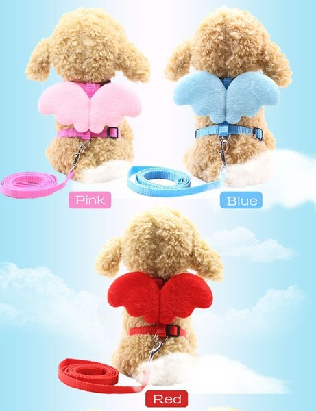 Dog Harness Leash Adjustable Puppy Leads and Collar Set with Angle Wing for Cats Kitten Small Medium Dogs Doggie Vest Red Blue Pink