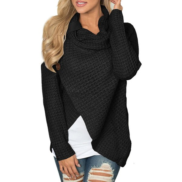 Pull femme pull tricoté à manches longues col rond fille solide pull pulls tops vestes chemise pulls hiver femmes