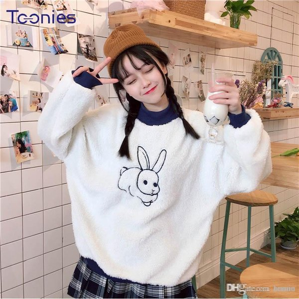 2018 Spring Autumn Women Kawaii Flannel Hoodies Mujer Casual Harajuku Pullvoer Rabbit Embroidery Patchwork Sweatshirt Sudaderas