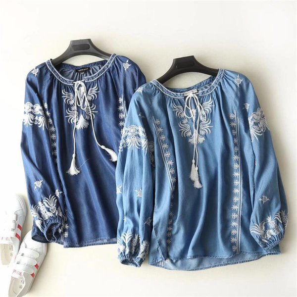 Vintage etnik tarzı nakış püskül lace up denim gömlek üst mori kız 2018 Yeni