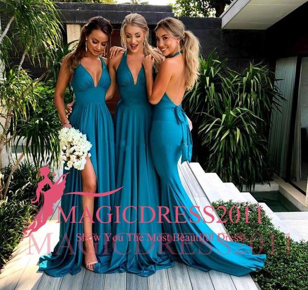 2018 Blue Mermaid Bridesmaid Dresses V Neck Satin Backless Summer Bridesmaid Dress Sexy Cheap Wedding Party Gowns