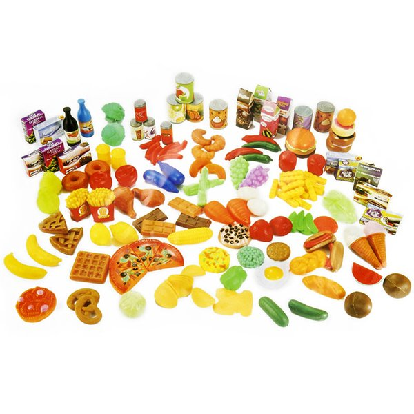 140PC /Set Plastic Kitchen Toy Fruit Vegetable Cutting Kids Pretend Play Toy Educational Cook Kitchen Toys for Children