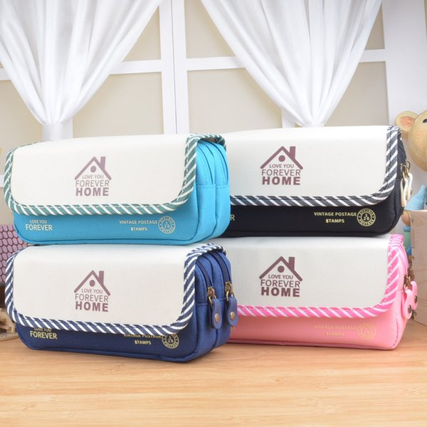 boy girl large capacity canvas Multifunctional Pencil Bag Durable Pencil Case Multi-Layer children student school Storage pouch