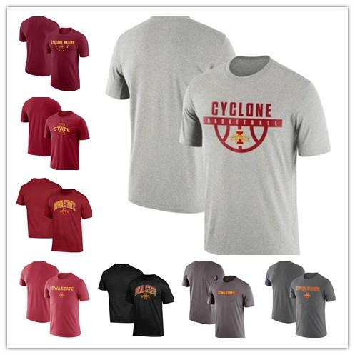 Mens Iowa State Cyclones Basketball Team Performance Cotton School Logo T-Shirt red grey black size S-XXXL free shipping
