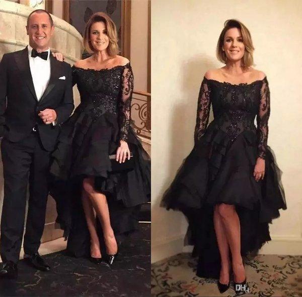 Black Sequin Lace Evening Dresses High Low Appliques A Line Off