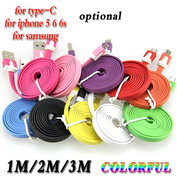 1m 2m 3m 3/6/10 Ft 8 pin Flat Noodle Sync Charge Colorful Data USB Cable for iPhone IOS Micro USB 5pin for samsung huawei 100pcs/lot