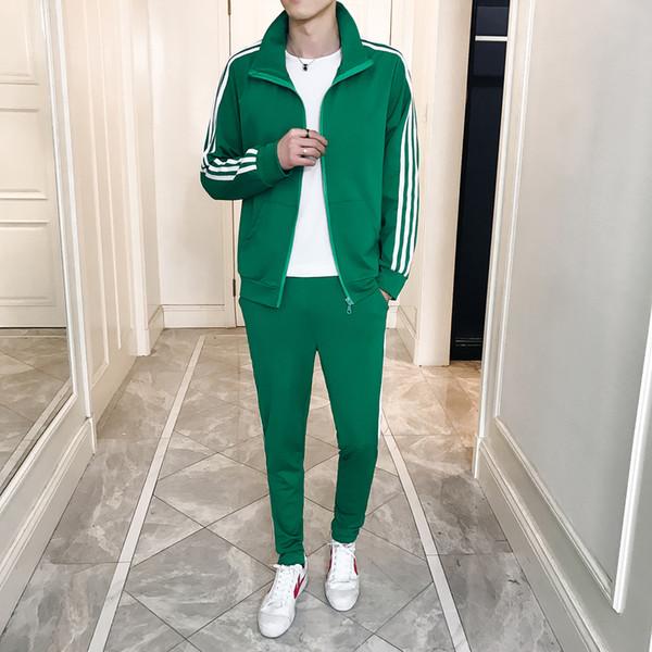 Survêtement pour hommes Sportswear Hoodies Pantalon Printemps Hiver Mode Casual Rayé Manches Longues Zipper Cardigan 2 Pièces Ensembles