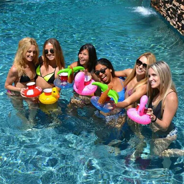 Hot sale Inflatable Drinks Cup Holder Pool Floats Bar Coasters Flotation Devices Children Outdoor Swimming Bath Toy SEN361
